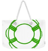 Life Preserver In Green And White Weekender Tote Bag