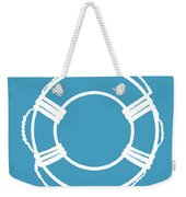 Life Preserver In White And Turquoise Blue Weekender Tote Bag
