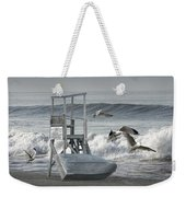Lifeguard Station With Flying Gulls At A Lake Huron Beach Weekender Tote Bag