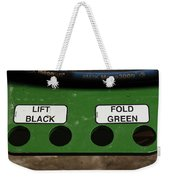 Lift Black Fold Green Weekender Tote Bag by Christi Kraft