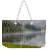 Lifting Fog On The Yellowstone River Weekender Tote Bag