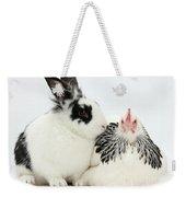 Light Sussex Bantam Hen And Rabbit Weekender Tote Bag