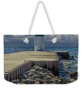 Lighthead At The End Of The Pier In Pentwater Michigan Weekender Tote Bag
