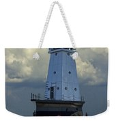 Lighthouse At The End Of The Pier In Ludington Michigan Weekender Tote Bag