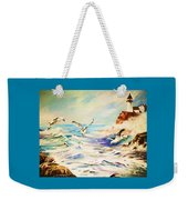 Lighthouse Gulls And Waves Weekender Tote Bag