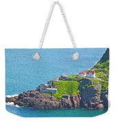 Lighthouse On Point In Signal Hill National Historic Site In Saint John's-nl Weekender Tote Bag