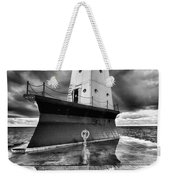 Lighthouse Reflection Black And White Weekender Tote Bag