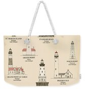 Lighthouses Of The Great Lakes Weekender Tote Bag