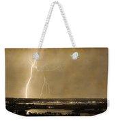 Lightning Strike Boulder Reservoir And Coot Lake Sepia 2 Weekender Tote Bag