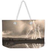 Lightning Striking Longs Peak Foothills Sepia 4 Weekender Tote Bag