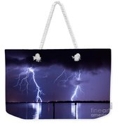Lightning Over Tampa Causeway Weekender Tote Bag