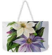 Lilac Clematis Weekender Tote Bag