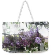 Lilacs Hanging Basket Window Reflection - Dreamy Lilacs Floral Art Weekender Tote Bag