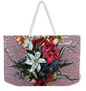 Lilies And Orchids Digitized Purple Weekender Tote Bag