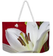 Lily Against Red Wall Weekender Tote Bag by Garry Gay