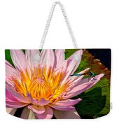 Lily And Dragon Fly Weekender Tote Bag by Nick Zelinsky