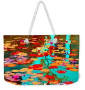 Lily Pads And Koi Colorful Water Garden In Bloom Waterlilies At The Lake Quebec Art Carole Spandau  Weekender Tote Bag