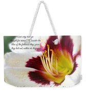 Lily With Scripture Weekender Tote Bag