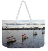 Line Of Boats On The Charles River Weekender Tote Bag