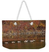 Line Of Geese On The Quinapoxet River Weekender Tote Bag