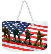 Line Of Toy Soldiers On American Flag Crisp Depth Of Field Weekender Tote Bag