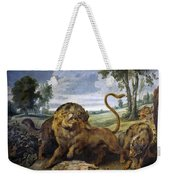 Lion And Three Wolves Weekender Tote Bag