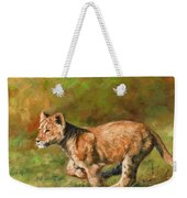 Lion Cub Running Weekender Tote Bag