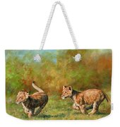 Lion Cubs Running Weekender Tote Bag
