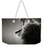 Lion Displaying Dangerous Teeth Weekender Tote Bag by Johan Swanepoel