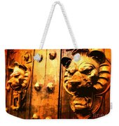 Lion Heads Gothic Door Weekender Tote Bag