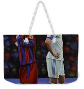Lionel Messi And Cristiano Ronaldo Weekender Tote Bag