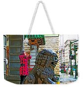 Lions Roar At Entry Gate To  Chinatown In San Francisco-california  Weekender Tote Bag