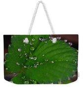 Liquid Pearls On Strawberry Leaves Weekender Tote Bag