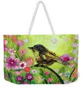 Little Bird In Green Weekender Tote Bag
