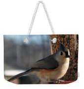 Little Gray Crested Titmouse Bird Ready For Lunch Weekender Tote Bag
