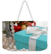 Little Blue Gift Box With Pearls And Flowers Weekender Tote Bag