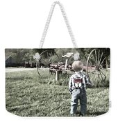 Little Boy On Farm Weekender Tote Bag