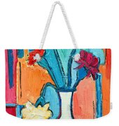 Little Carnations China Pink Flowers Weekender Tote Bag by Ana Maria Edulescu