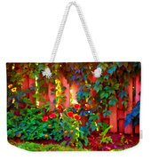 Little Country Scene Pink Flowers Climbing Leaves On Wood Fence Colors Of Quebec Art Carole Spandau Weekender Tote Bag