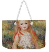Little Girl Carrying Flowers Weekender Tote Bag by Pierre Auguste Renoir