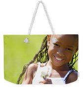 Little Girl Holding Weeds Weekender Tote Bag