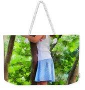 Little Girl Playing In Tree Weekender Tote Bag