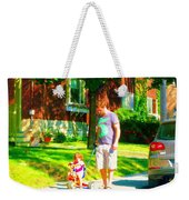 Little Girls First Bike Lesson With Dad Beautiful Tree Lined Street Summer Scene Carole Spandau  Weekender Tote Bag