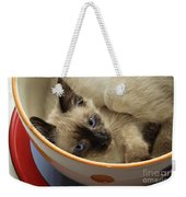 Little Miss Blue Eyes Weekender Tote Bag by Andee Design