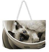 Little Miss Blue Eyes B W Weekender Tote Bag by Andee Design