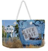 Live Bait Sign And Muffler Man Statue Weekender Tote Bag