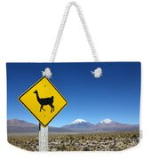 Llamas Crossing Sign Weekender Tote Bag