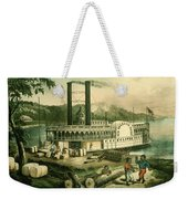 Loading Cotton On The Mississippi, 1870 Colour Litho Weekender Tote Bag