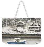 Lobster Boat After Snowstorm In Tenants Harbor Maine Weekender Tote Bag