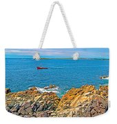 Lobster Boat Checking Traps In Louisbourg Bay-ns Weekender Tote Bag